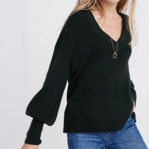 NWOT Madewell Dashwood Green V Neck Sweater